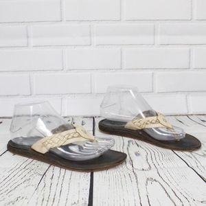 OluKai Tan/Cream Braided Leather Thong Sandals 7
